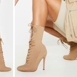 Nude lace up booties